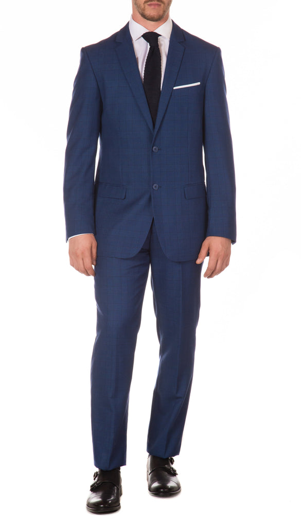 Morgan Slim Fit Blue Plaid 2pc Suit - Ferrecci USA