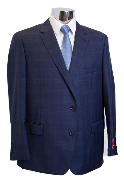 Mantoni 2 Button Mens Blue Windowpane Portly Suit - M87168-1