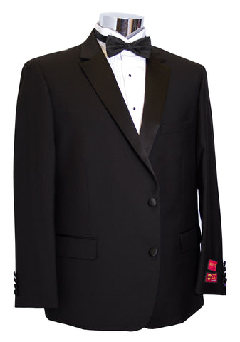 Mantoni Mens Portly 2 Button Super Wool Black Tuxedo - M4090TUXPORT