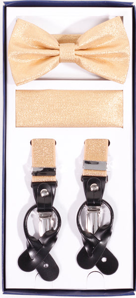 Vesuvio Napoli Suspenders & Bow-tie Hanky 3 Piece Set- Metallic Gold