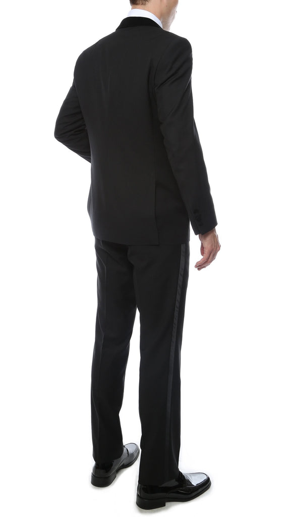 Noir Black Slim Velvet Peak Lapel 2pc Tuxedo - Ferrecci USA