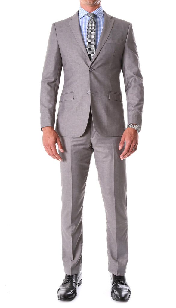 Oslo Grey Slim Fit Notch Lapel 2 Piece Suit - Ferrecci USA