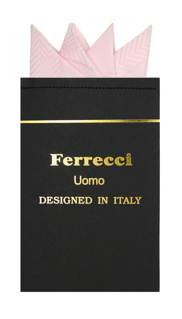 Pre-Folded Microfiber Pink Chevron Handkerchief Pocket Square - Ferrecci USA