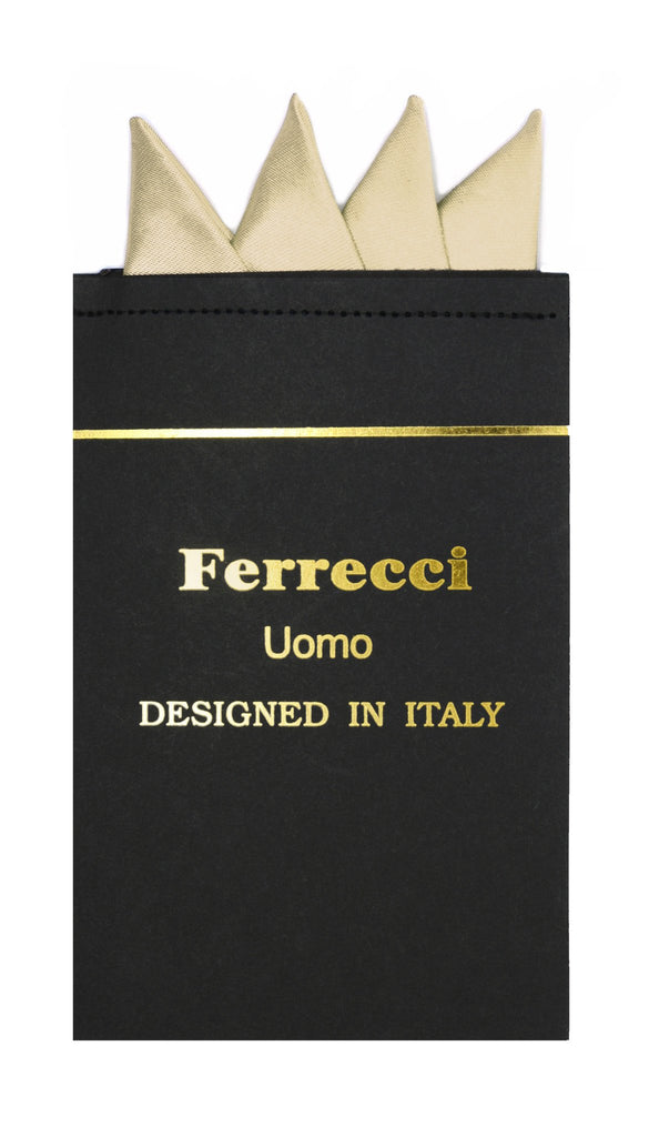 Pre-Folded Microfiber Cream Handkerchief Pocket Square - Ferrecci USA