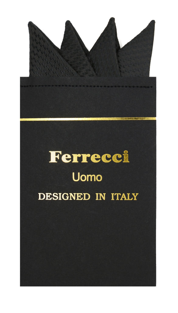 Pre-Folded Microfiber Black Black Geometric Handkerchief Pocket Square - Ferrecci USA