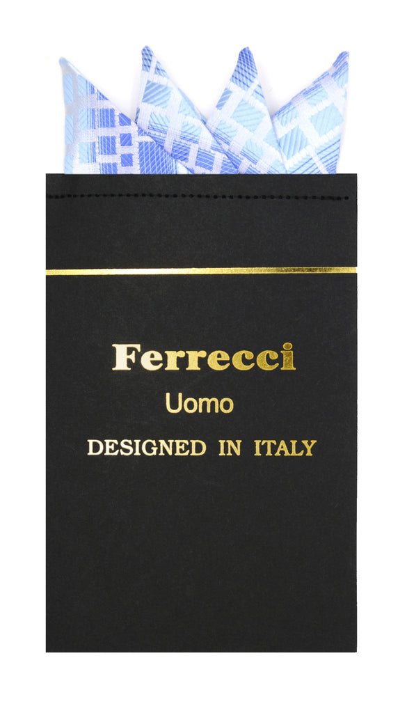 Pre-Folded Microfiber Blue Geometric Handkerchief Pocket Square - Ferrecci USA
