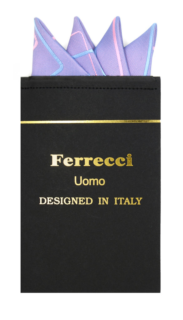 Pre-Folded Microfiber Blue Pink Geometric Handkerchief Pocket Square - Ferrecci USA