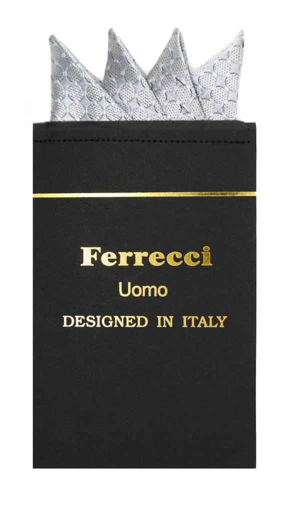 Pre-Folded Microfiber Grey Geometric Handkerchief Pocket Square - Ferrecci USA