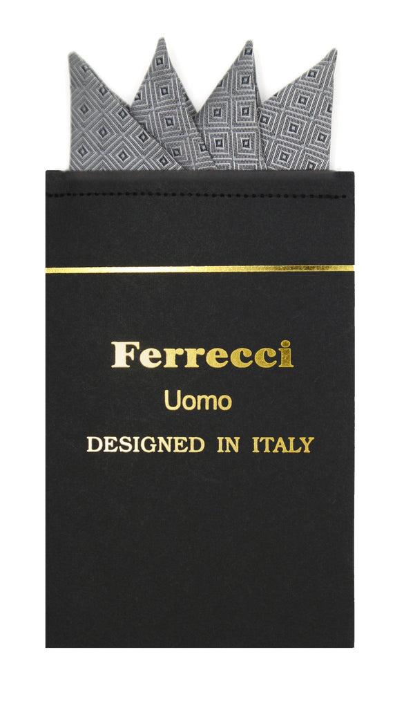 Pre-Folded Microfiber Grey Silver Geometric Handkerchief Pocket Square - Ferrecci USA