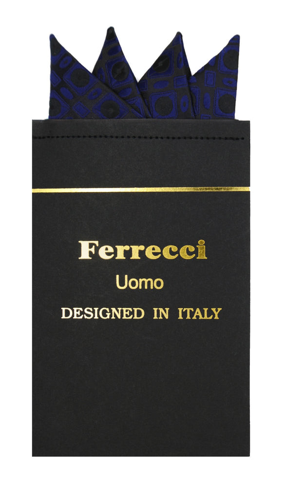 Pre-Folded Microfiber Navy Blue Geometric Handkerchief Pocket Square - Ferrecci USA