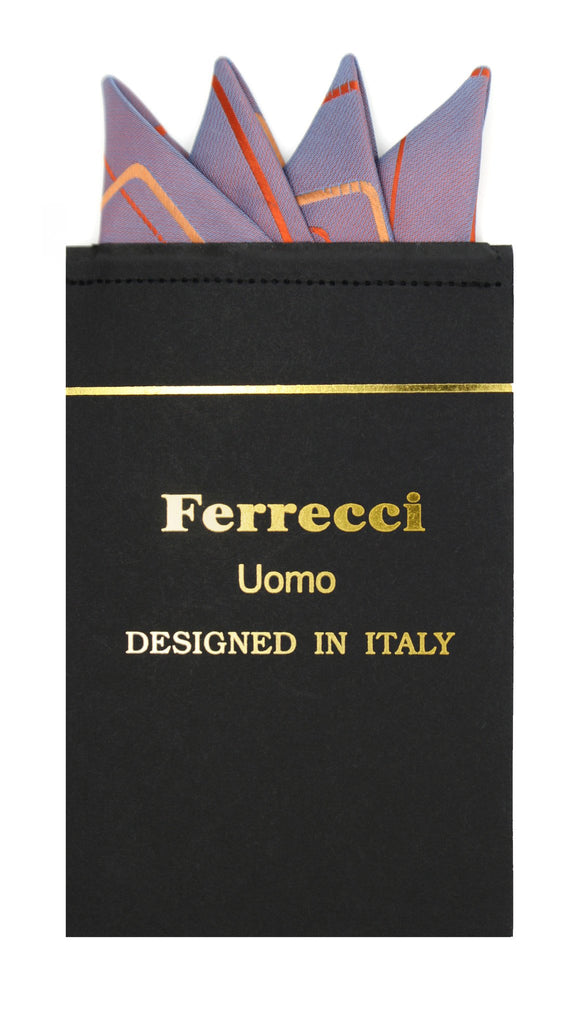 Pre-Folded Microfiber Orange Geometric Handkerchief Pocket Square - Ferrecci USA