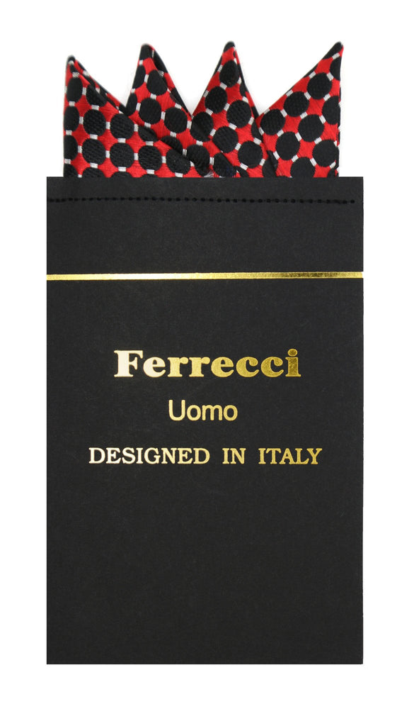 Pre-Folded Microfiber Red Black Geometric Handkerchief Pocket Square - Ferrecci USA