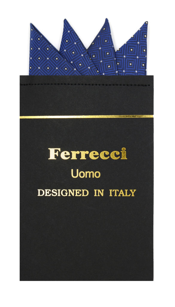 Pre-Folded Microfiber Royal Geometric Handkerchief Pocket Square - Ferrecci USA