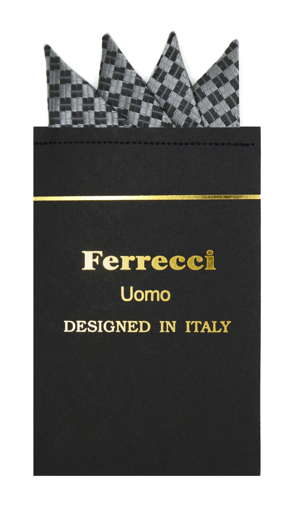 Pre-Folded Microfiber Silver Black Geometric Handkerchief Pocket Square - Ferrecci USA