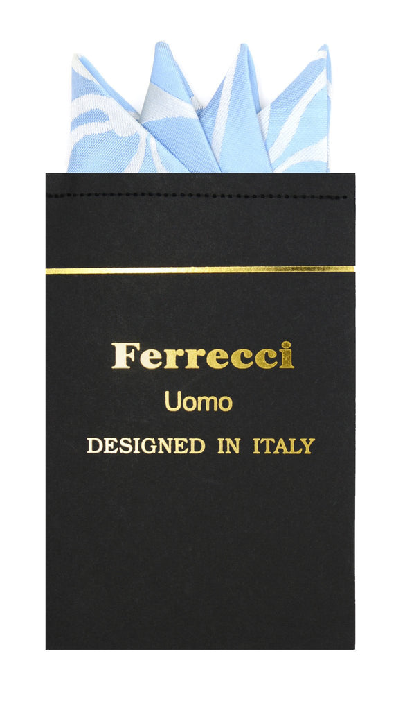 Pre-Folded Microfiber Sky Blue Geometric Handkerchief Pocket Square - Ferrecci USA