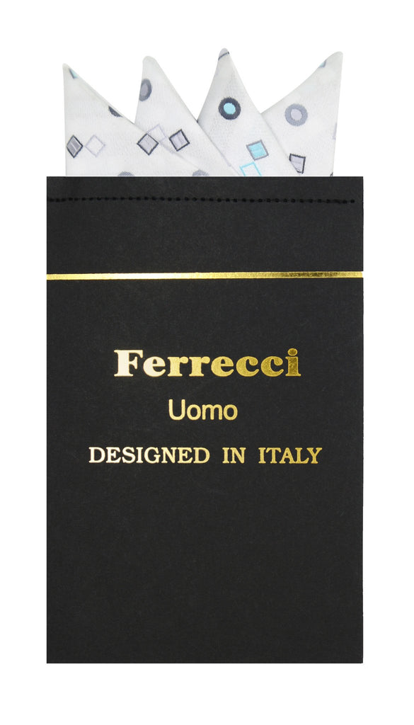 Pre-Folded Microfiber White Geometric Handkerchief Pocket Square - Ferrecci USA