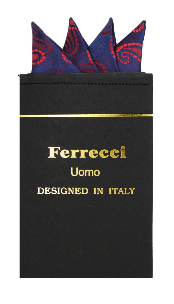 Pre-Folded Microfiber Red Paisley Handkerchief Pocket Square - Ferrecci USA