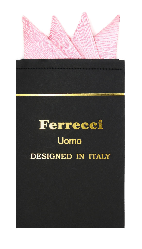 Pre-Folded Microfiber Pink Stripe Handkerchief Pocket Square - Ferrecci USA