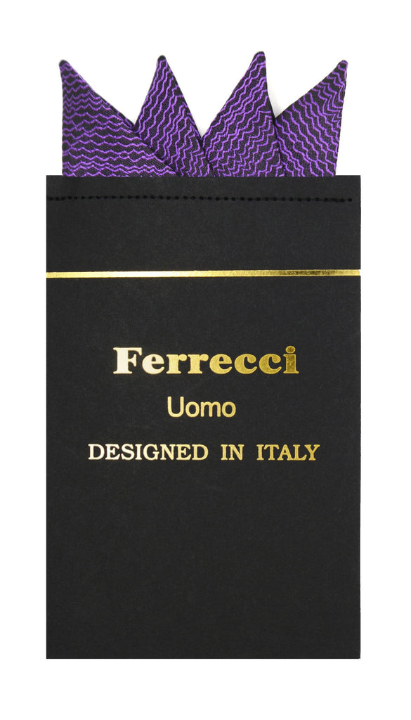 Pre-Folded Microfiber Purple Stripe Handkerchief Pocket Square - Ferrecci USA
