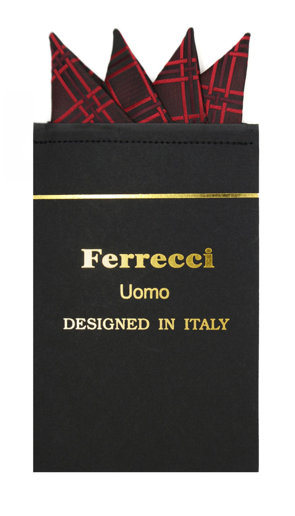 Pre-Folded Microfiber Red Stripe Handkerchief Pocket Square - Ferrecci USA