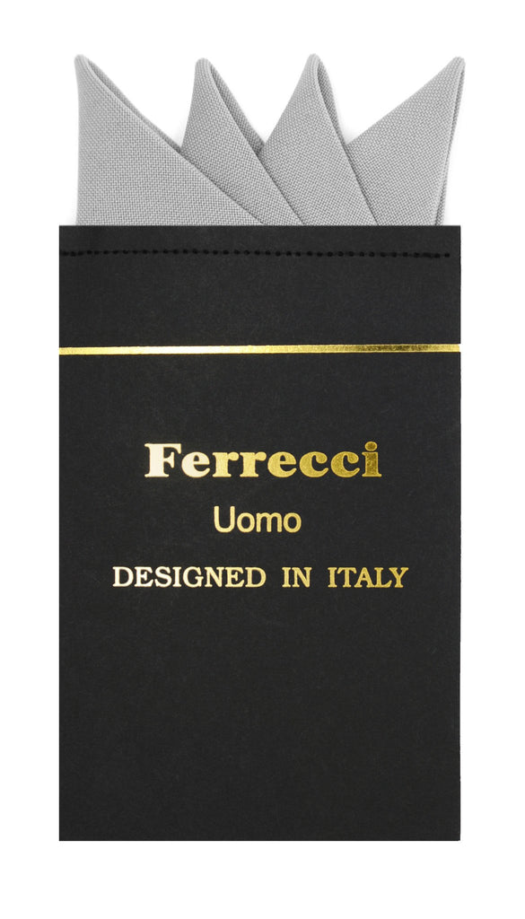 Pre-Folded Microfiber New Silver Handkerchief Pocket Square - Ferrecci USA