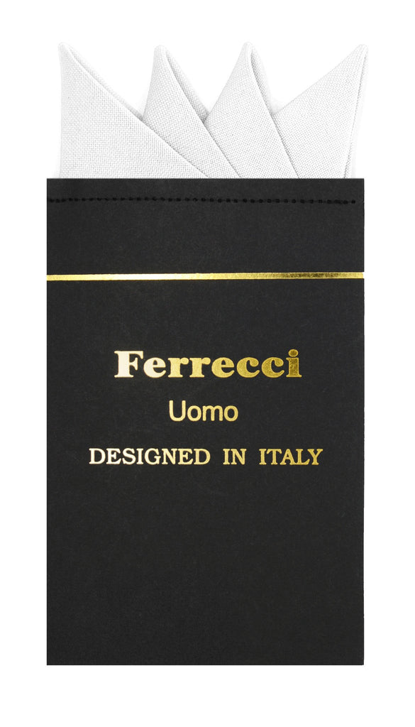 Pre-Folded Microfiber New White Handkerchief Pocket Square - Ferrecci USA