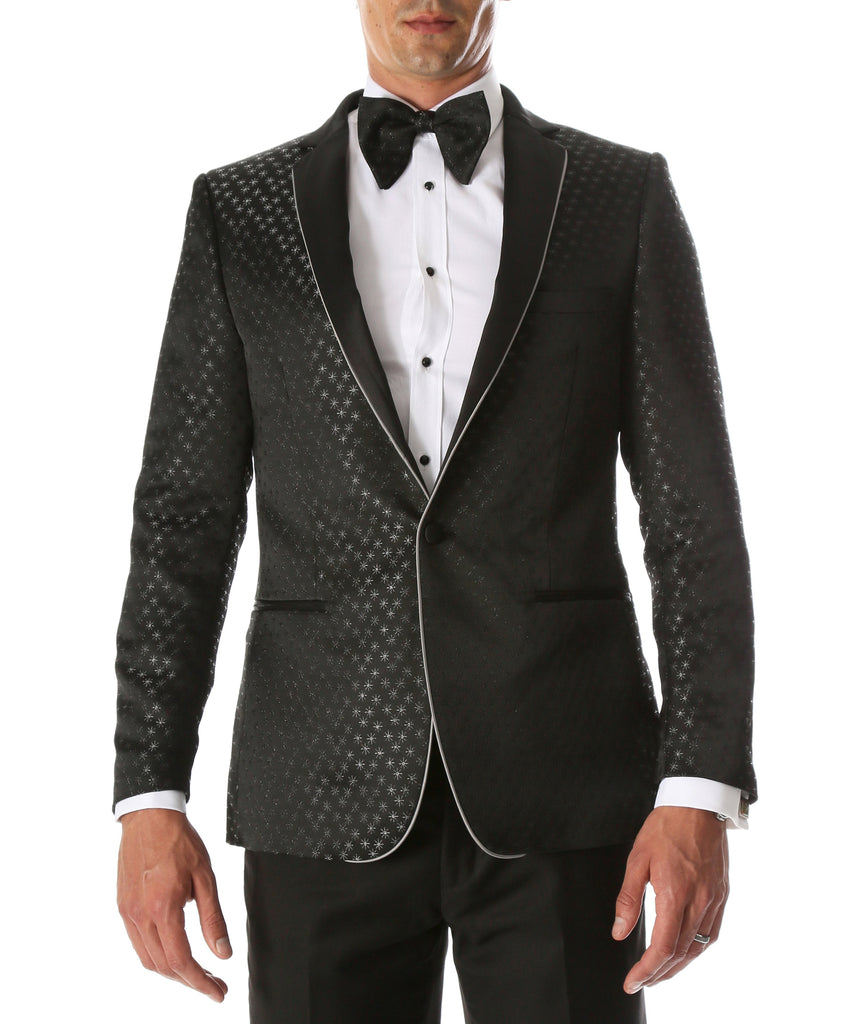 Men's Pronto Black Star Modern Fit Notch Lapel Tuxedo Blazer - Ferrecci USA
