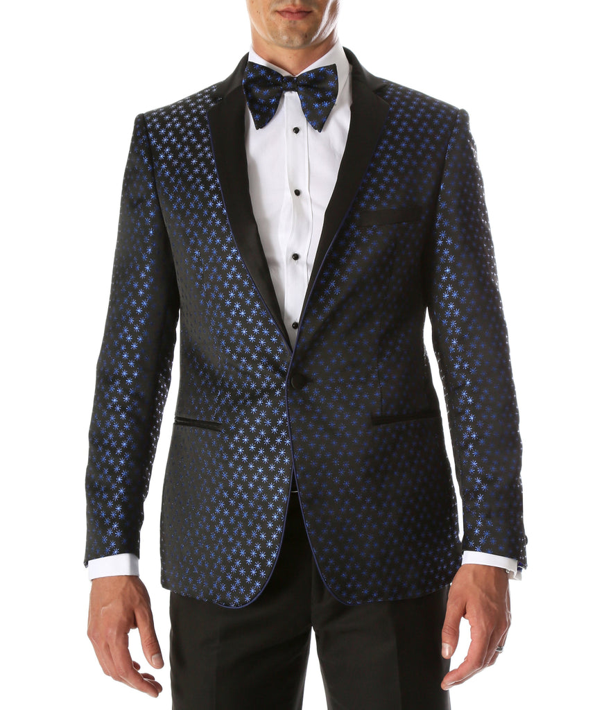 Men's Pronto Blue Star Modern Fit Notch Lapel Tuxedo Blazer - Ferrecci USA