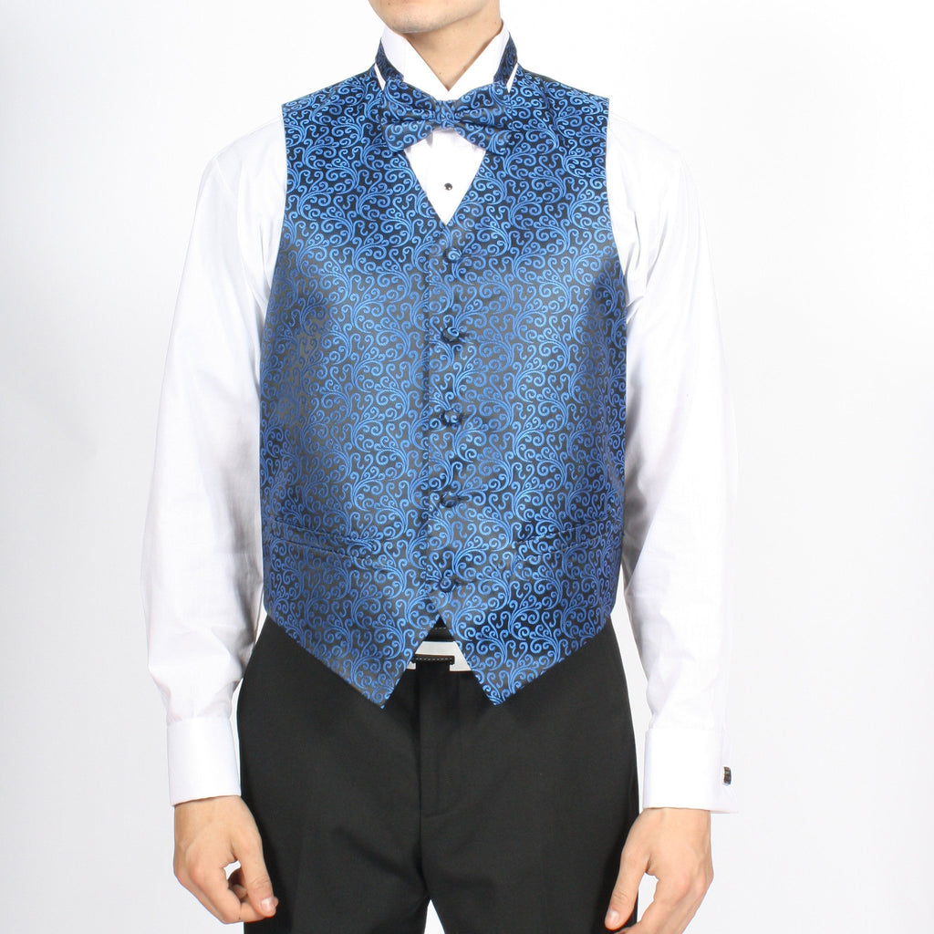 Ferrecci Mens PV50-3 Blue Black Vest Set - Ferrecci USA