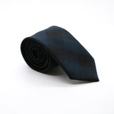 Slim Teal and Black Plaid Neckties & Handkerchief - Ferrecci USA