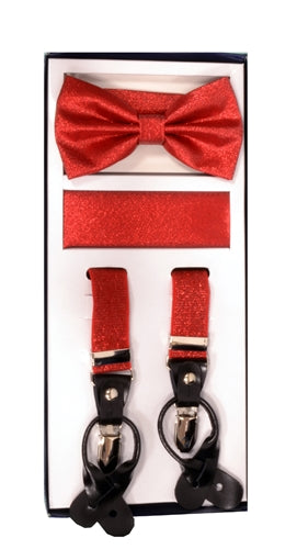 Vesuvio Napoli Suspenders & Bow-tie Hanky 3 Piece Set- Metallic Red