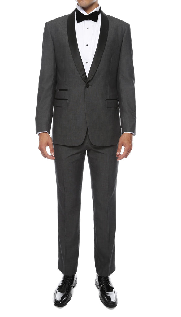 Ferrecci Men's Reno Grey Slim Fit Shawl Lapel 2 Piece Tuxedo Suit Set - Ferrecci USA