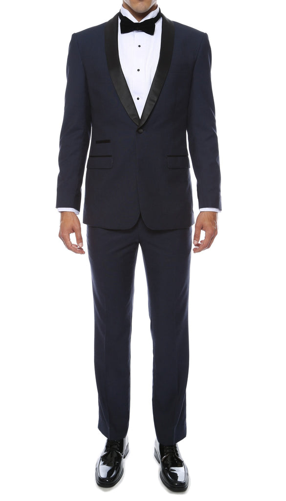 Ferrecci Men's Reno Navy Slim Fit Shawl Lapel 2 Piece Tuxedo Suit Set - Ferrecci USA