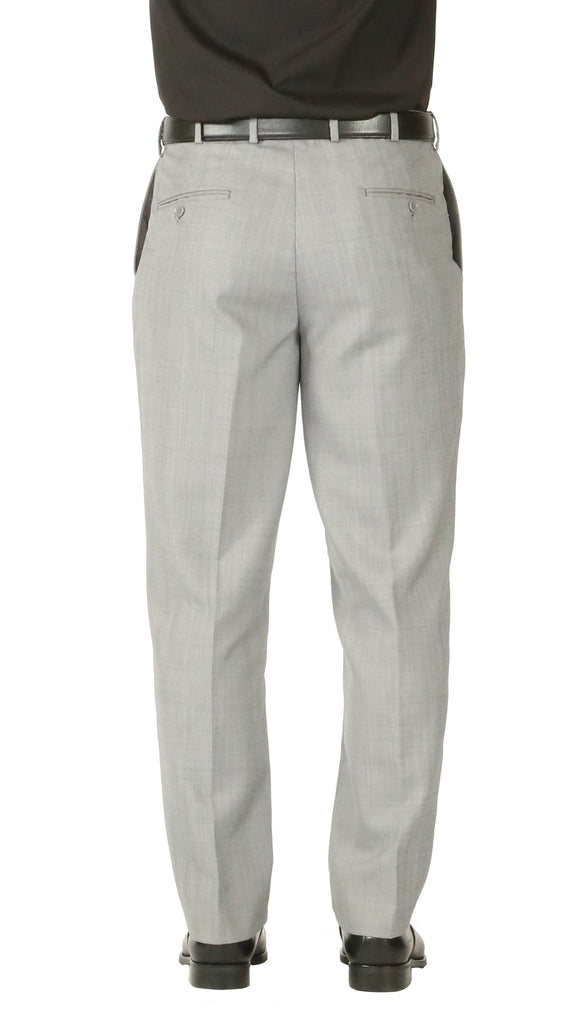 Rod Premium Light Grey Wool 2pc Stain Resistant Traveler Suit - w 2 Pairs of Pants - Ferrecci USA