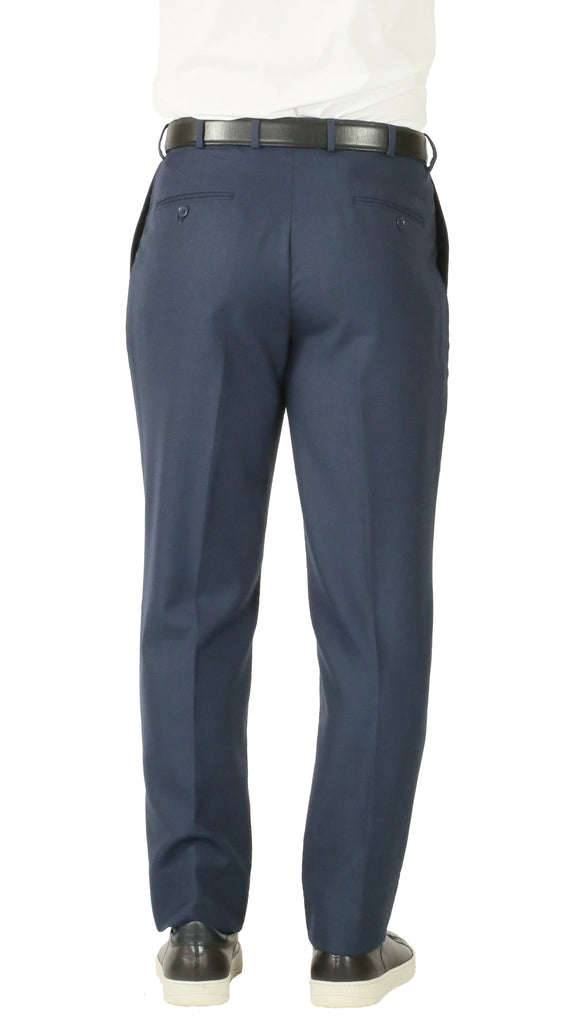 Rod Premium Blue Wool 2pc Stain Resistant Traveler Suit - w 2 Pairs of Pants - Ferrecci USA