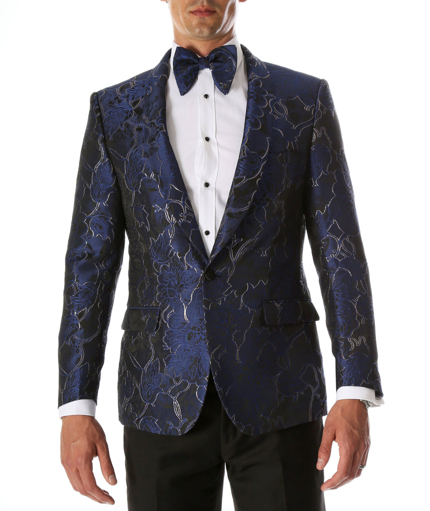 Men's Romi Blue Modern Fit Shawl Collar Tuxedo Blazer - Ferrecci USA