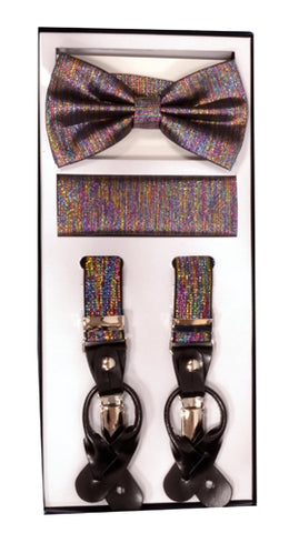 Vesuvio Napoli Suspenders & Bow-tie Hanky 3 Piece Set - Metallic Rainbow