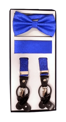Vesuvio Napoli Suspenders & Bow-tie Hanky 3 Piece Set - Metallic Royal Blue