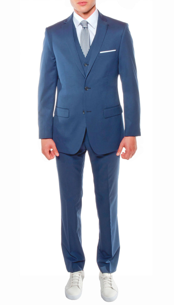 Ferrecci Mens Savannah Indigo Slim Fit 3pc Suit - Ferrecci USA