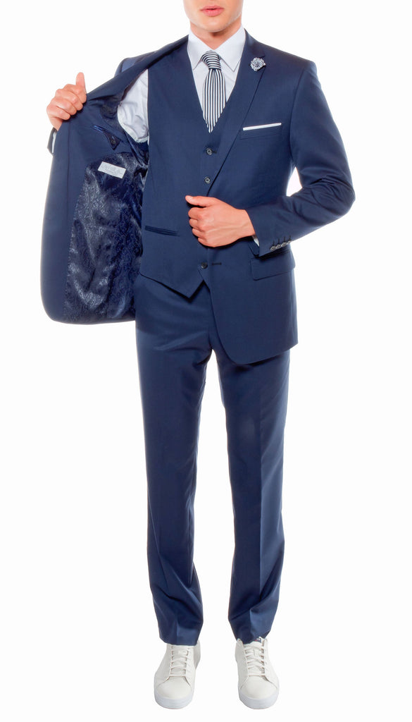 Ferrecci Mens Savannah Navy Slim Fit 3pc Suit - Ferrecci USA