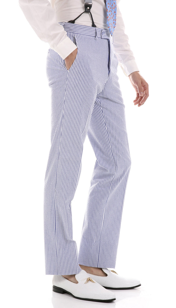 Premium Comfort Cotton Slim Blue Seersucker Suit - Ferrecci USA