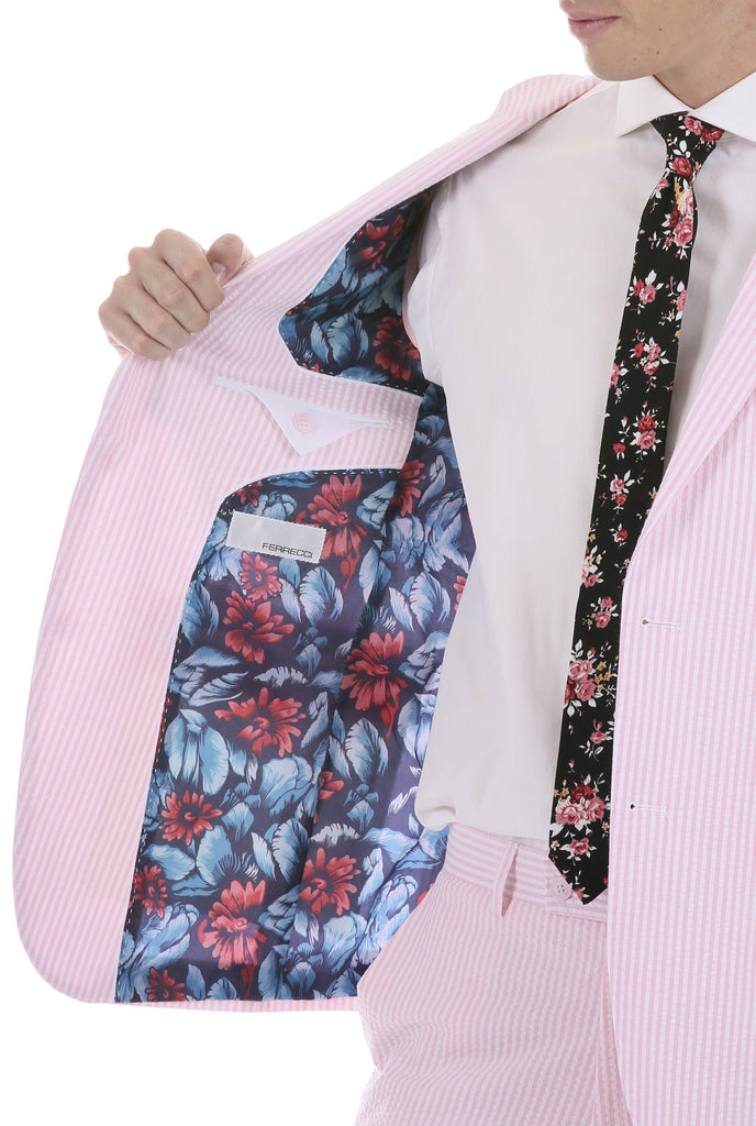 Men's  Slim Fit Two Button Pink Seersucker Suit - Ferrecci USA