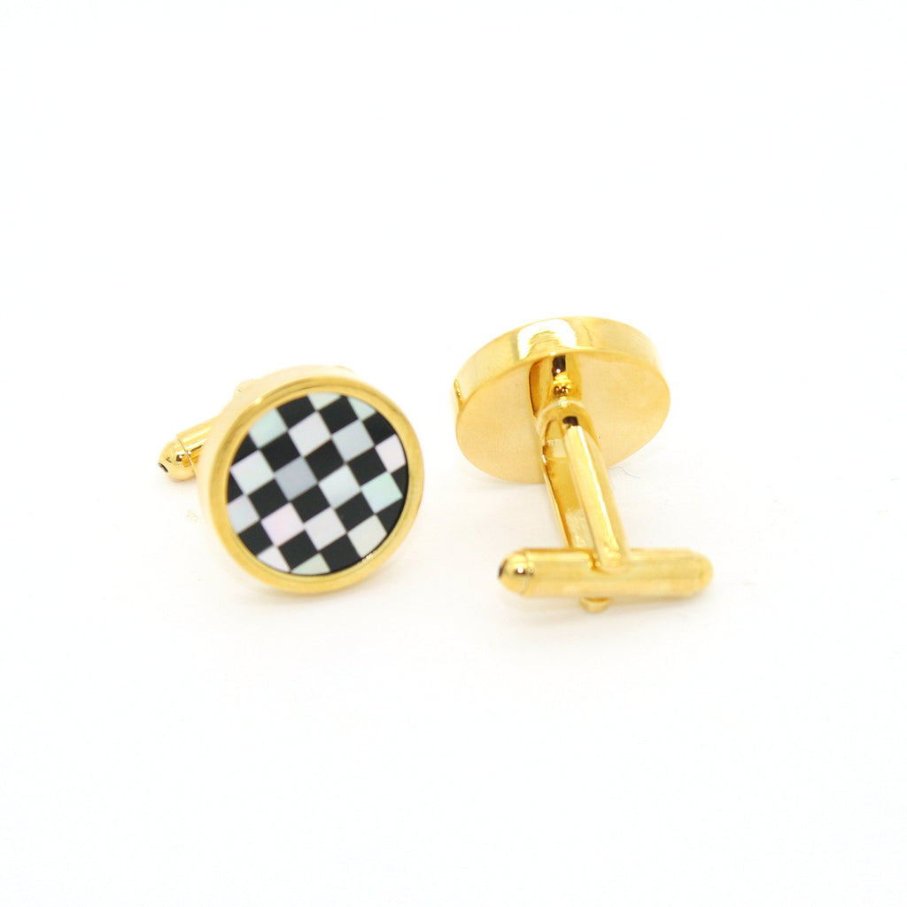 Goldtone Checker Shell Cuff Links With Jewelry Box - Ferrecci USA