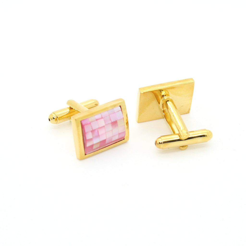 Goldtone Pink Shell Cuff Links With Jewelry Box - Ferrecci USA