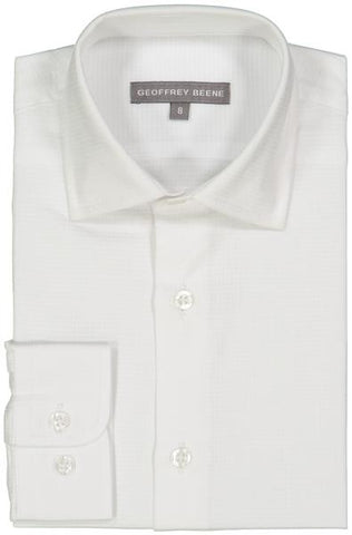 Geoffrey Beene Solid Boys White Dress Shirt