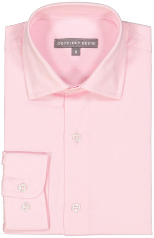 Geoffrey Beene Solid Long Sleeve Boys Pink Dress Shirt