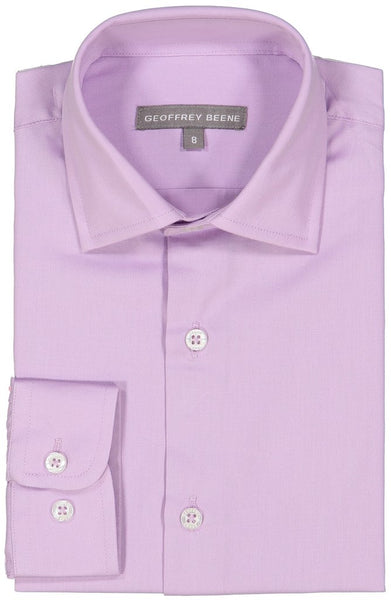 Geoffrey Beene Solid Long Sleeve Boys Lavender Dress Shirt