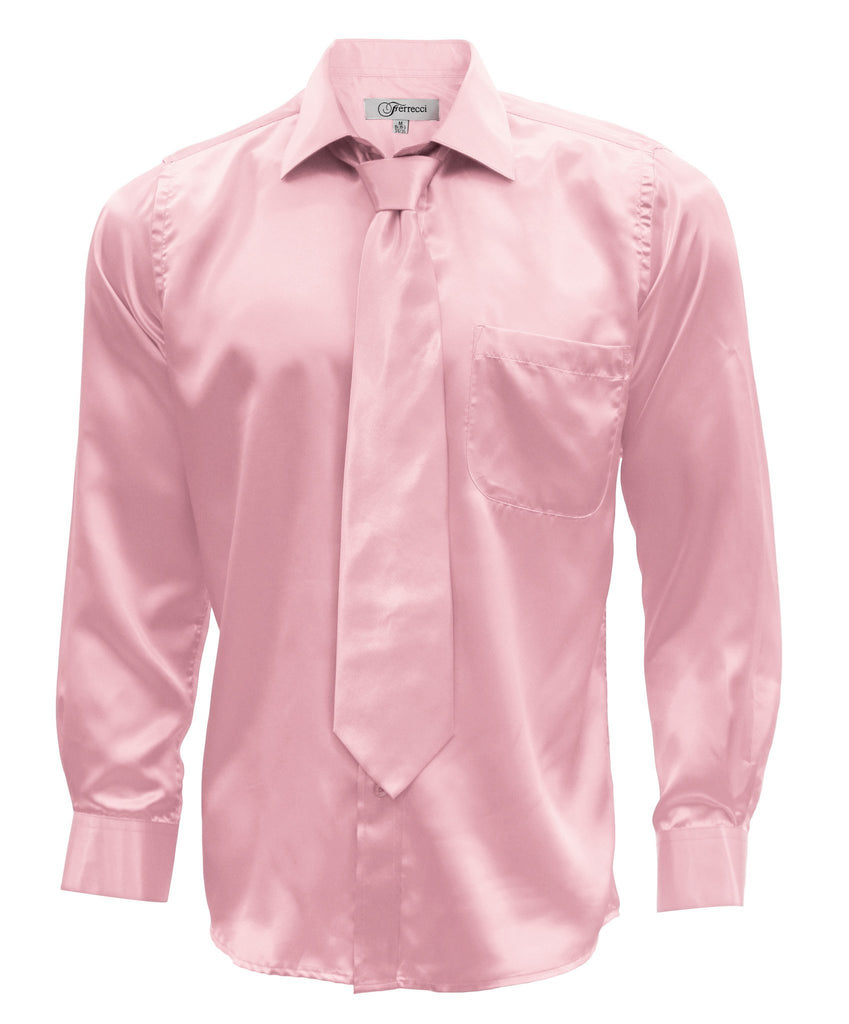 Pink Satin Regular Fit French Cuff Dress Shirt, Tie & Hanky Set - Ferrecci USA