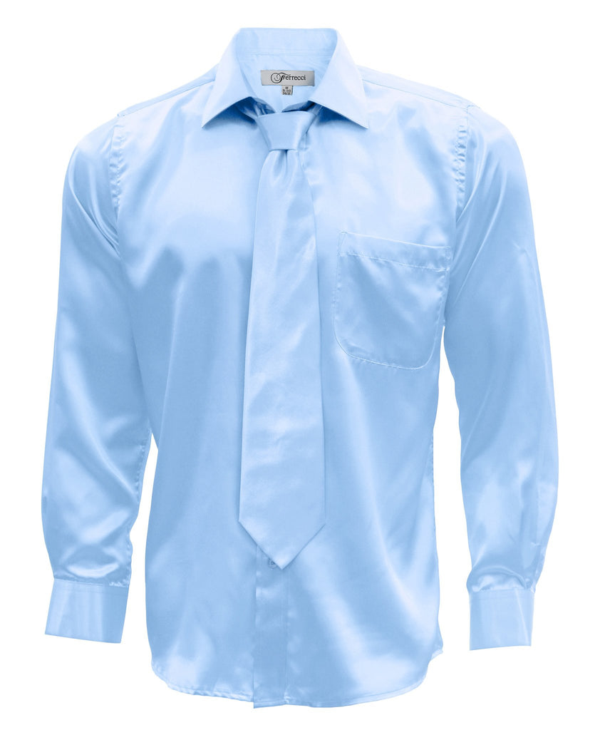 Sky Blue Satin Regular Fit French Cuff Dress Shirt, Tie & Hanky Set - Ferrecci USA