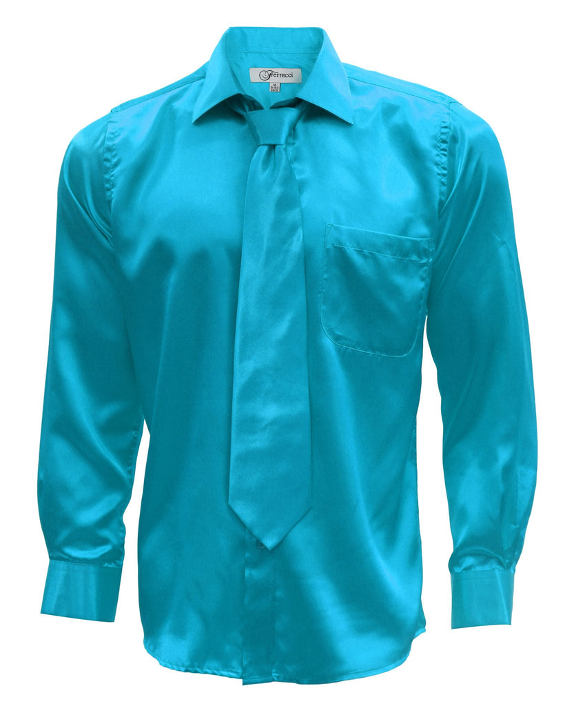 Turquoise Satin Regular Fit Dress Shirt, Tie & Hanky Set - Ferrecci USA